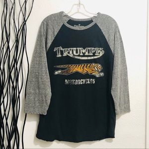 Lucky Brand Triumph Motorcycles Knit Shirt Size L